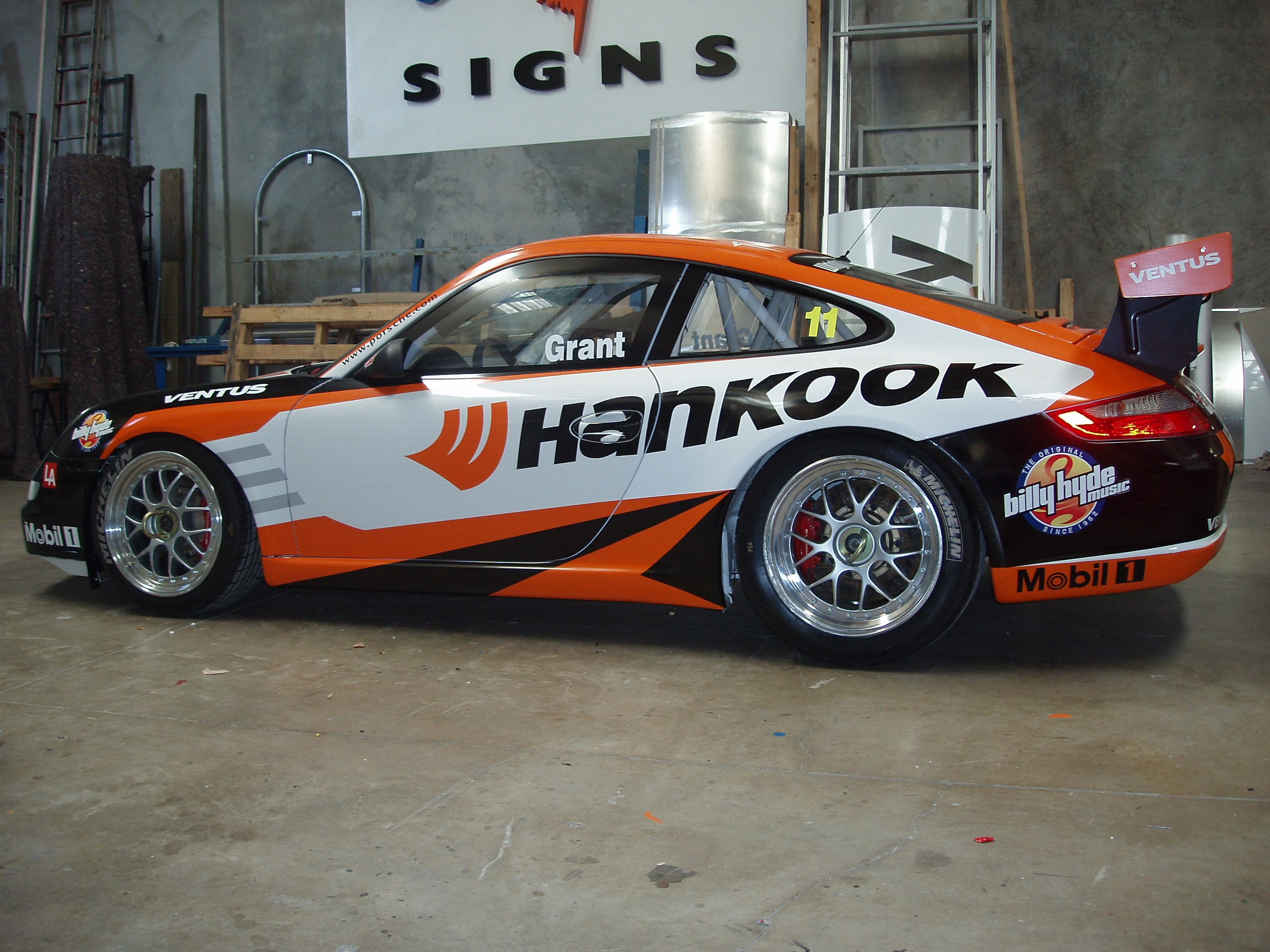 sporting car vehicle signage hankook