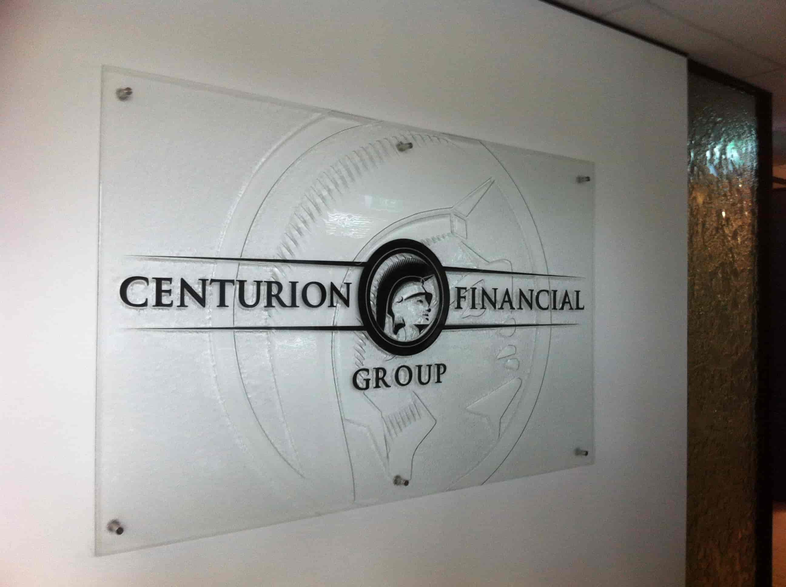 Reception signage for centurion financial group
