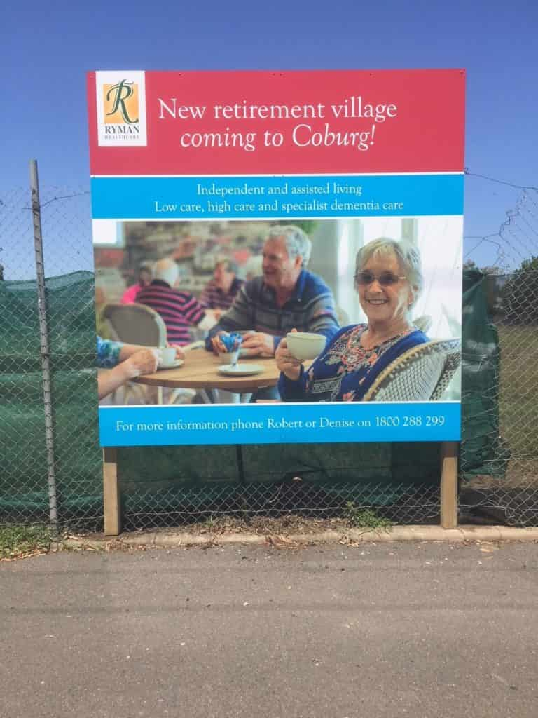 Billboard Signage, New retirement village
