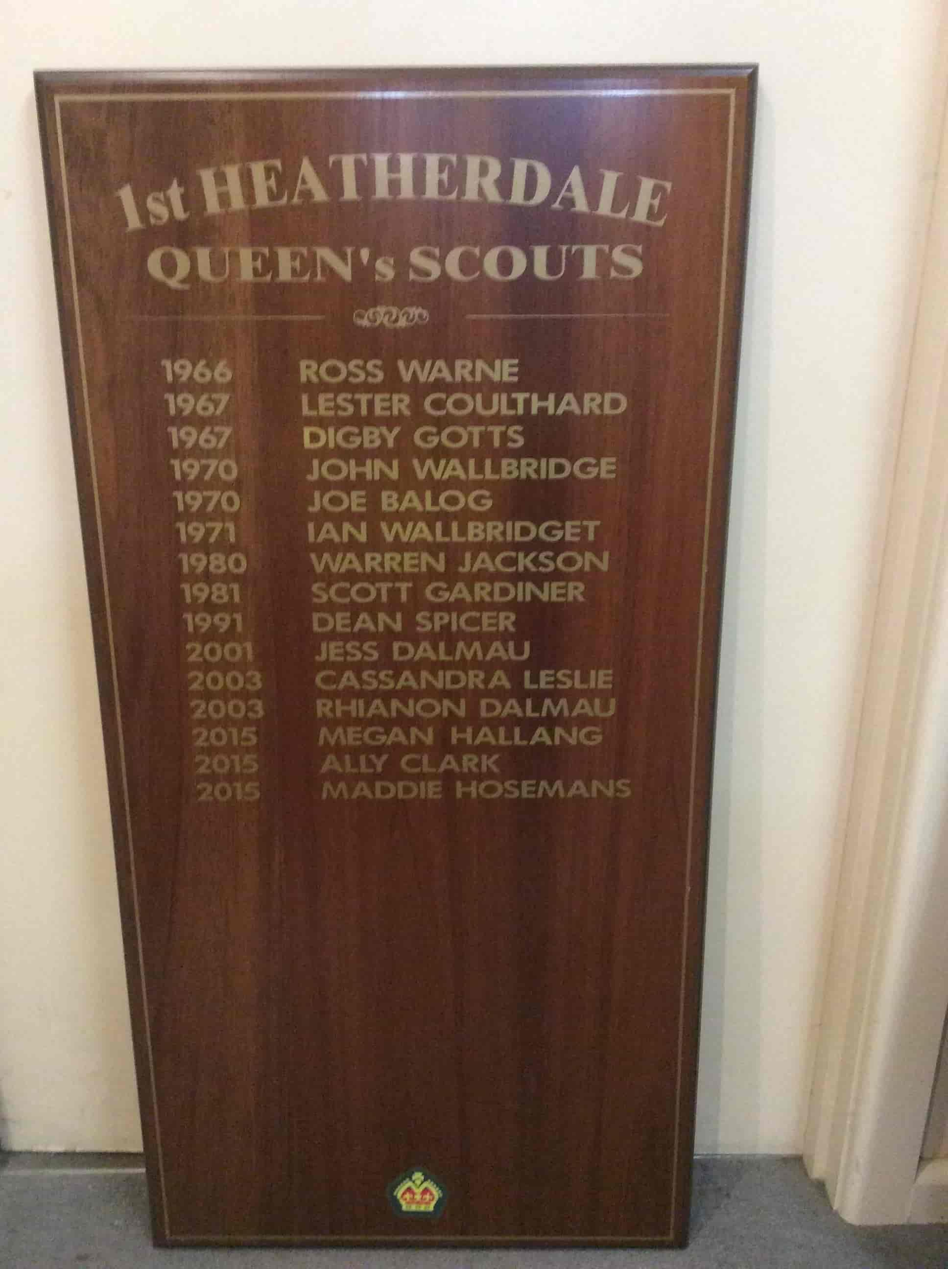 Melboubrne honour Boards queen's scouts