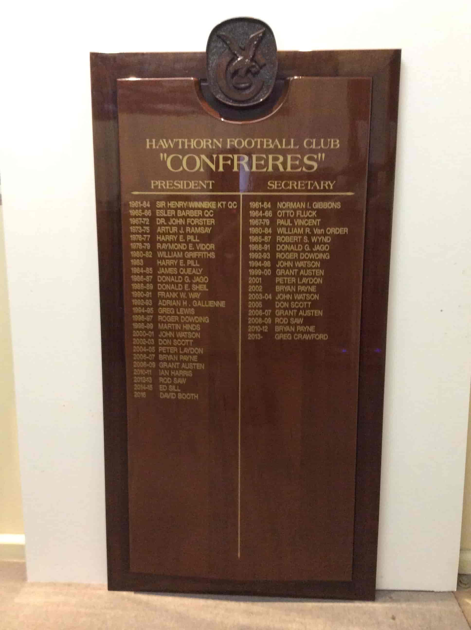 honour boards hawthorn football club legends