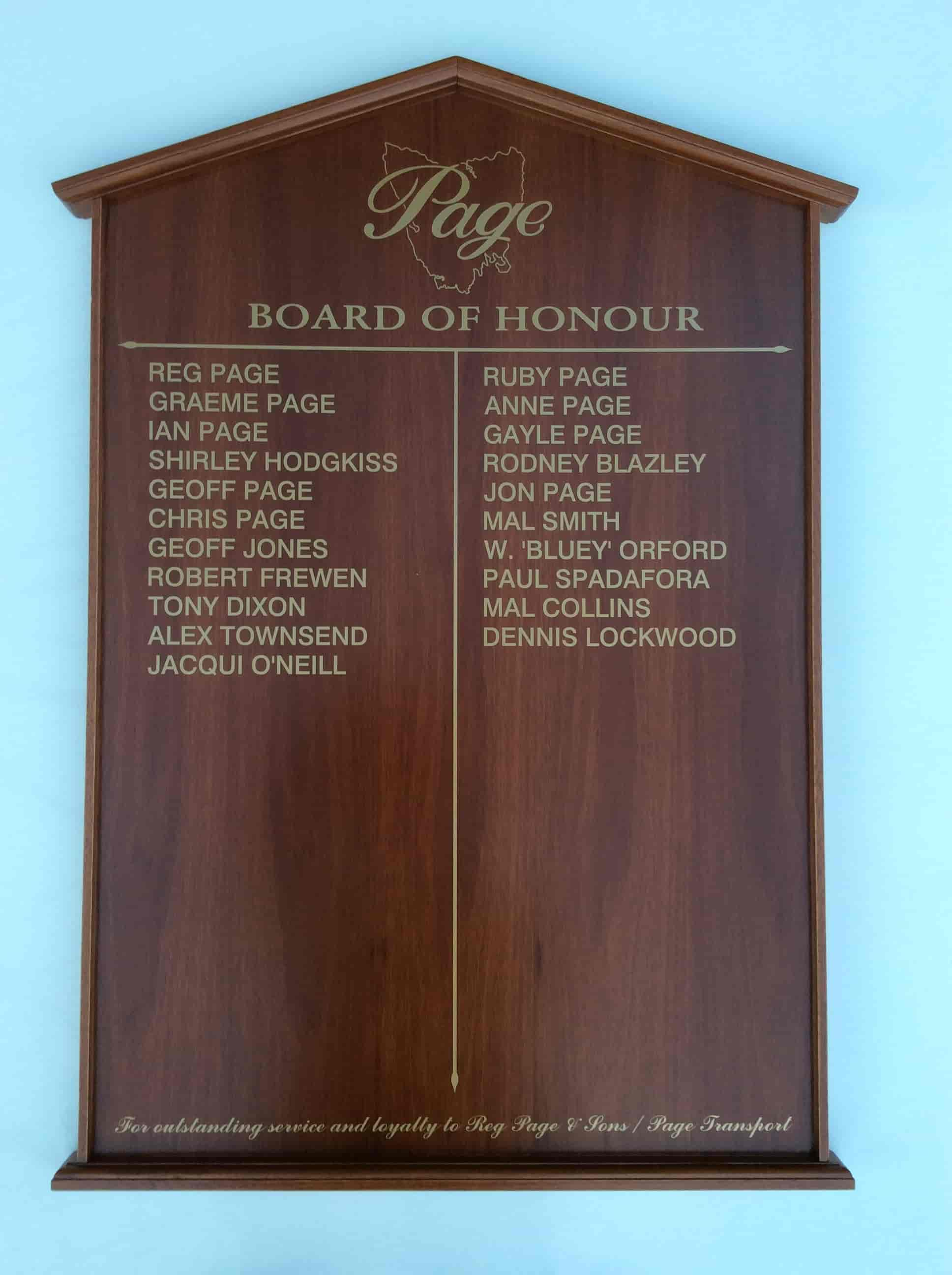 honour boards Melbourne PAGE