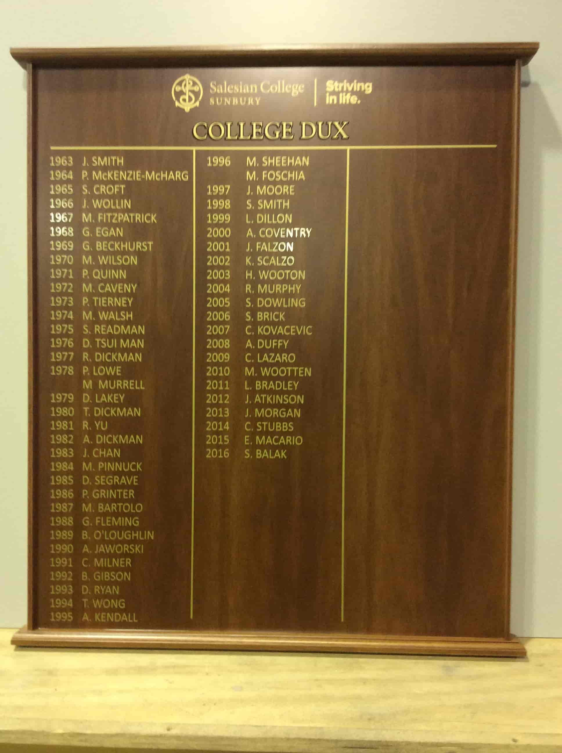 honour boards for college dux