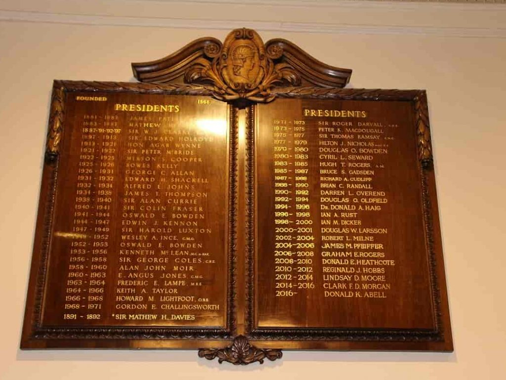 honour boards in Melbourne club presidents