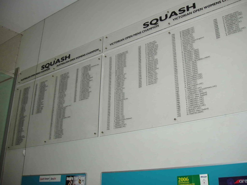 honour boards Squash Victoria winner Melbourne