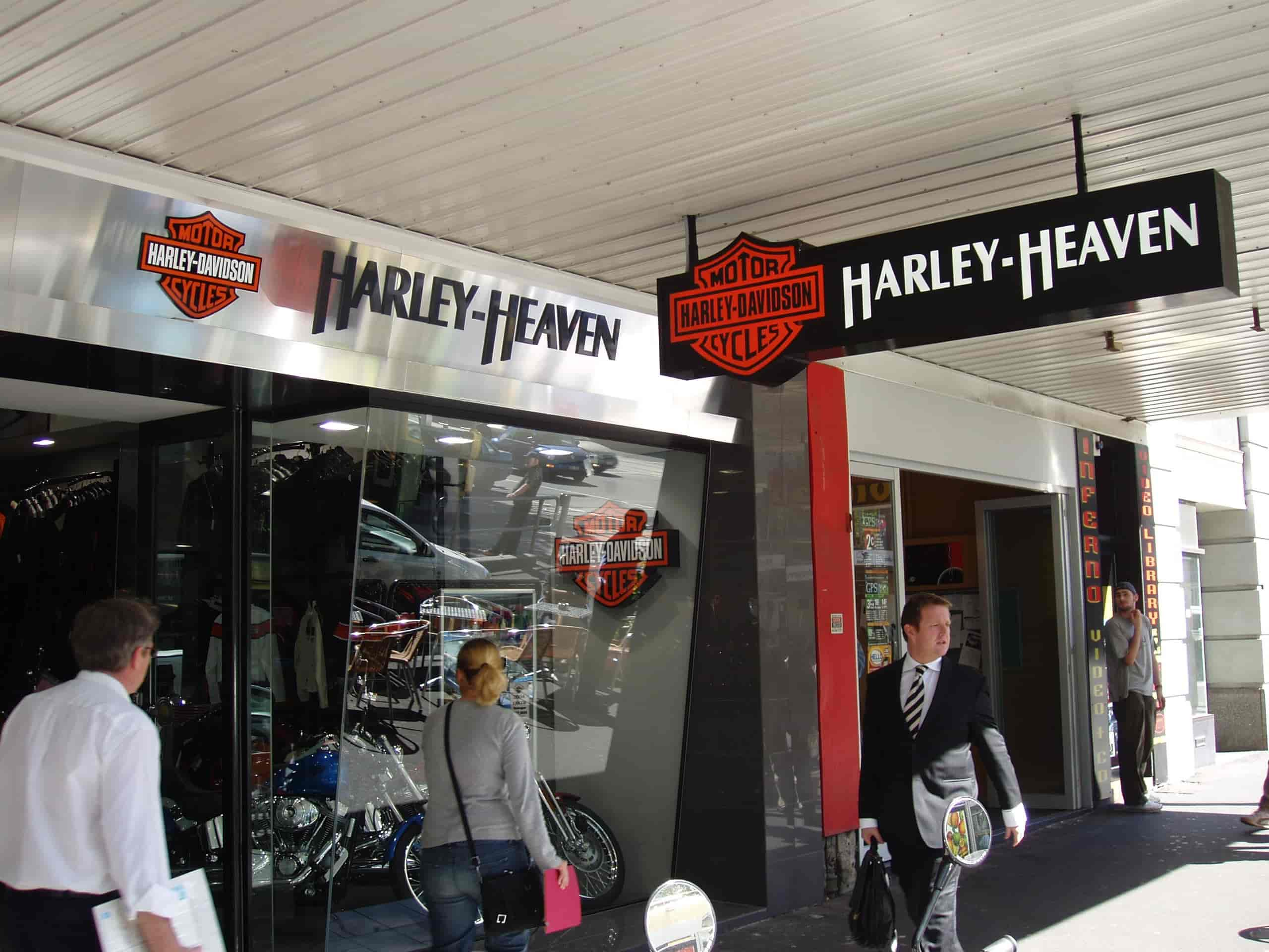 harley heaven shop front signs