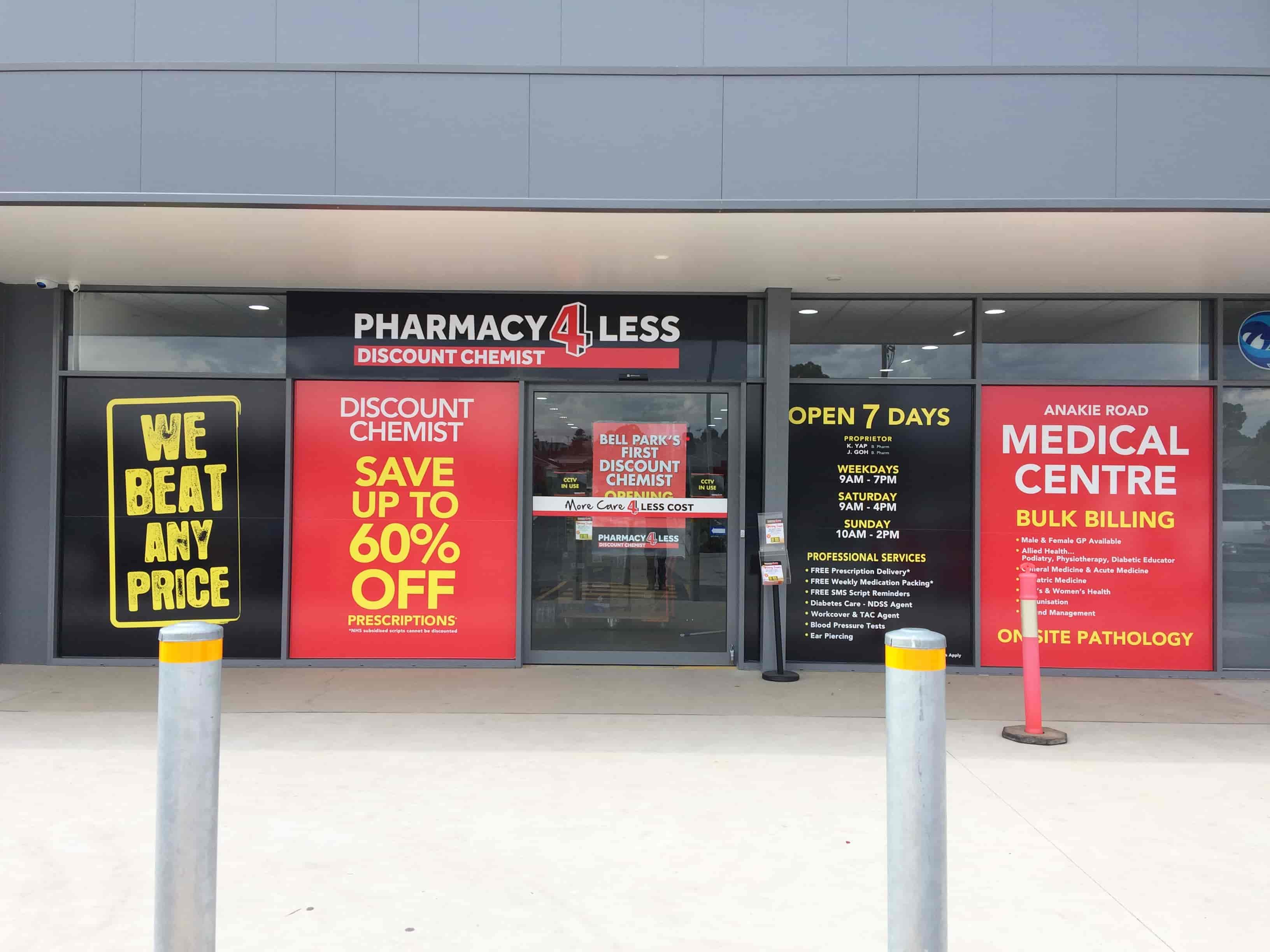 shop front signs by signwriters melbourne pharmacy 4 less