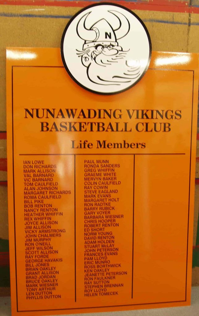 Nunawading vikings basketball club Honour Board Life Members