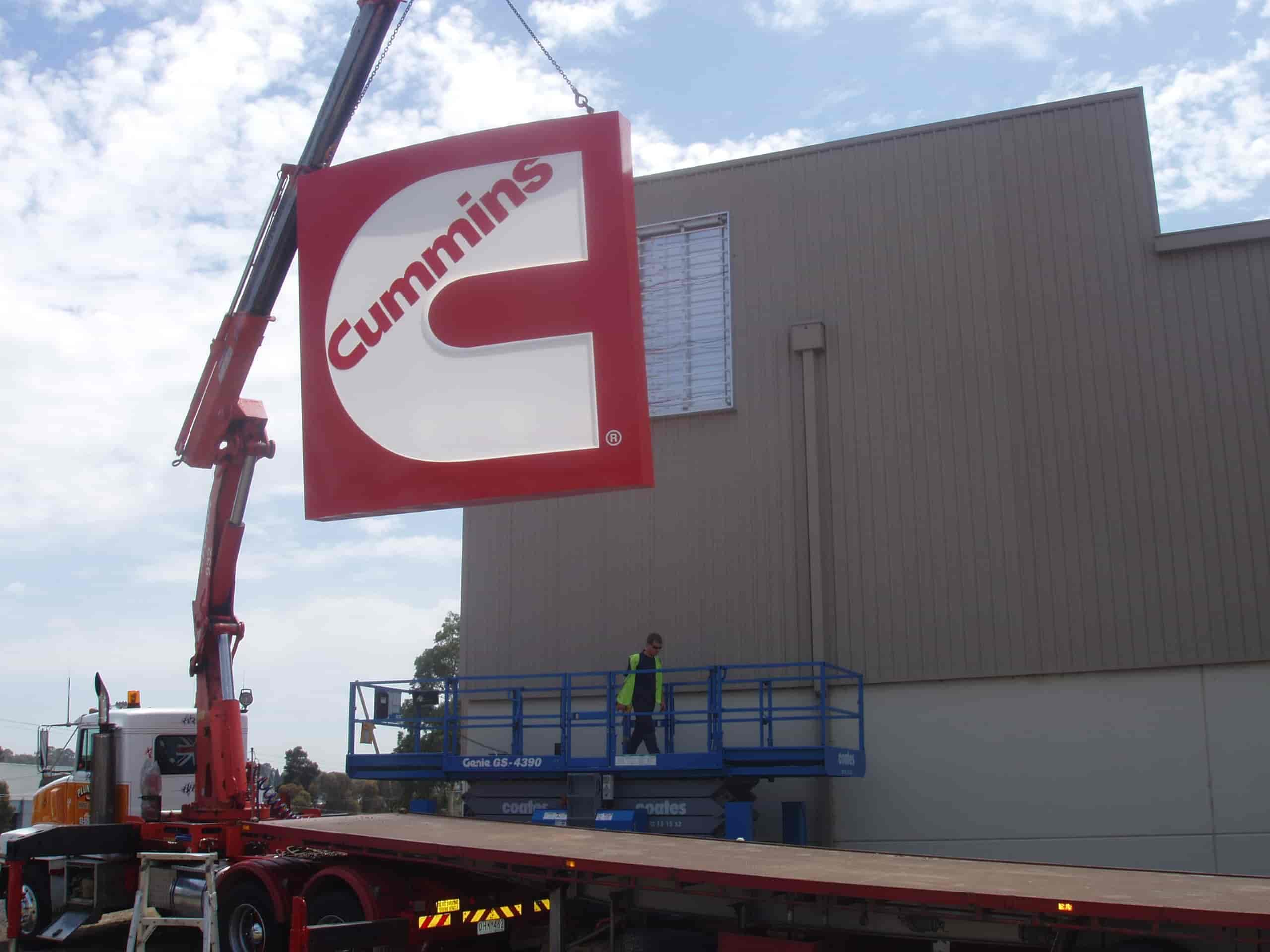 Signage Installation jag signs cummins logo