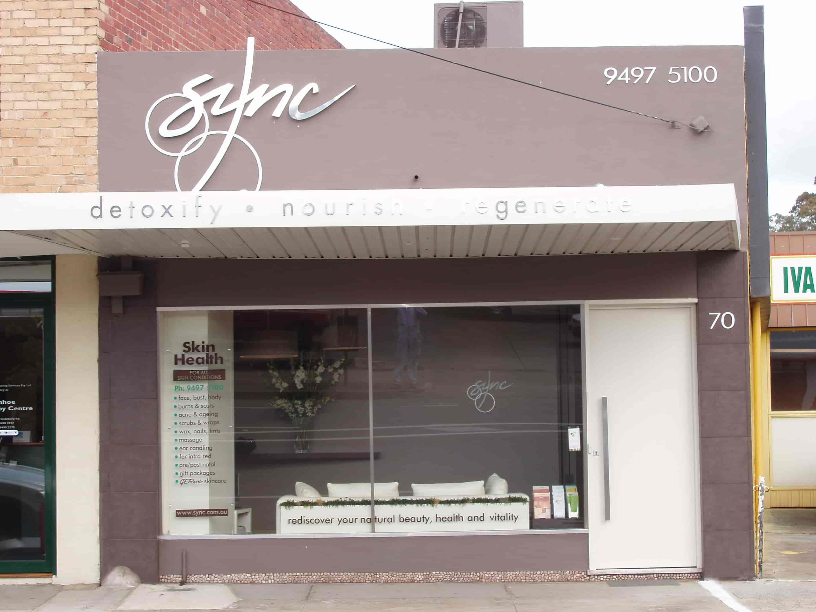 shop front signs skin health sync