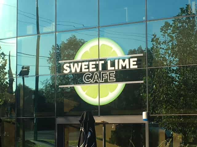 building signage window etching sweet lime cafe