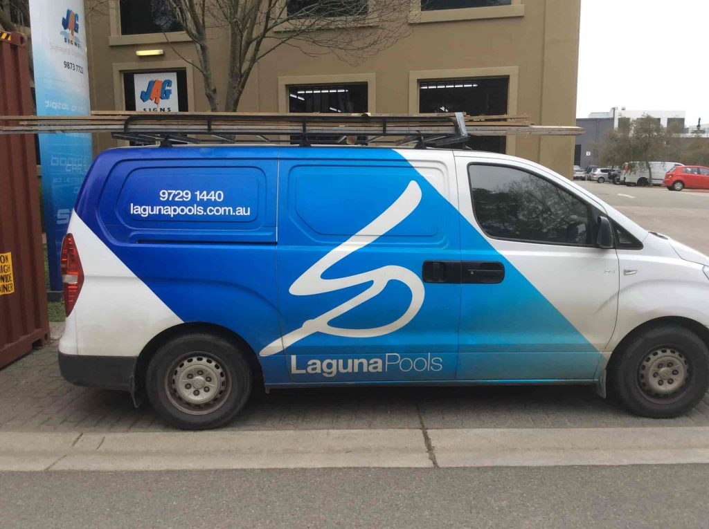 Vehicle signage Melbourne Signwriters laguna Pools