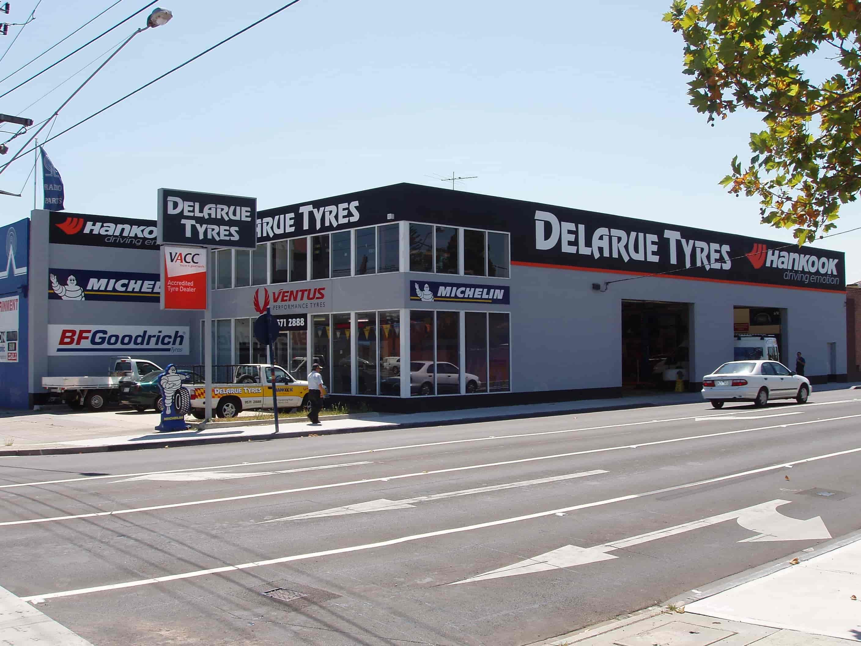 building signage delarue tyres