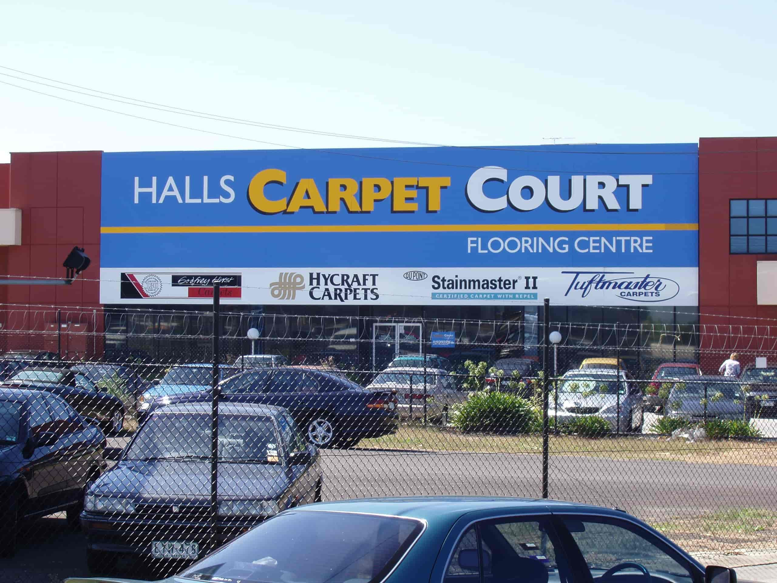 halls carpet court building signage