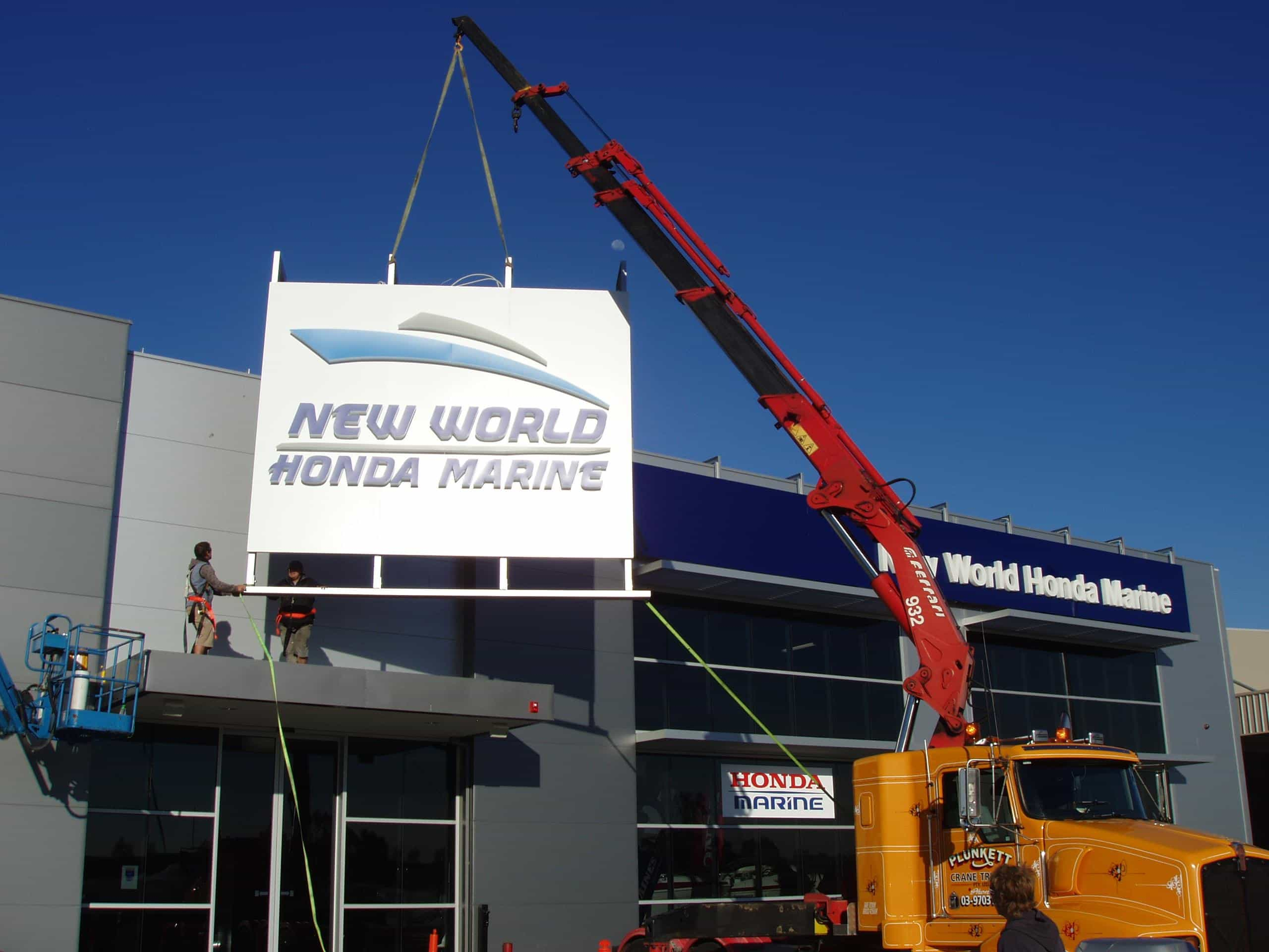 signage installation melbourne new world honda